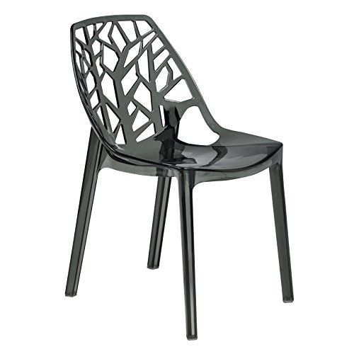 LeisureMod Contemporary Side Chair in Transparent Black