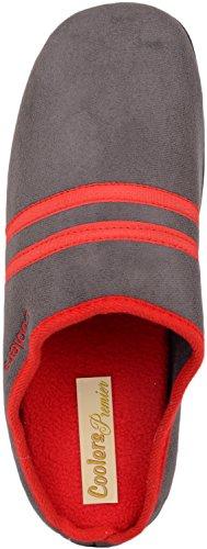 Heren Slip Op Slippers / Muilezels / Indoor Schoenen Met Warme Polar Fleece Binnenin Grijs / Kastanjebruin
