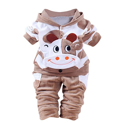 NEARTIME Kid Clothes Set, New Newborn Baby Girls Boys Winter Cartoon Cow Warm Outfits Clothes Velvet Hooded Tops Set (Brown, 6-12M) ()