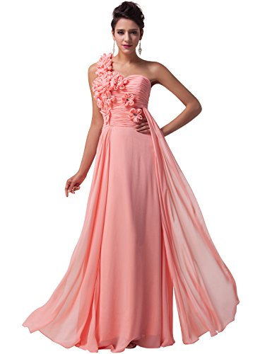 One Shoulder Chiffon Pageant Dresses Full Length Size 12 CL4526-2