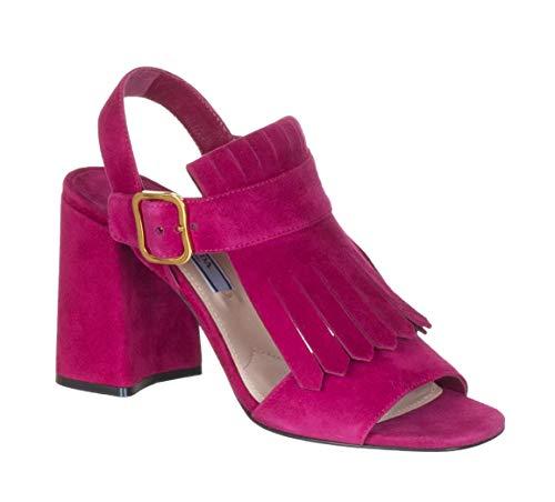 Prada Women's Fuchsia Suede 1X048H Fringed Sandals Shoes, US 6.5 / EU 36.5, Purple ()