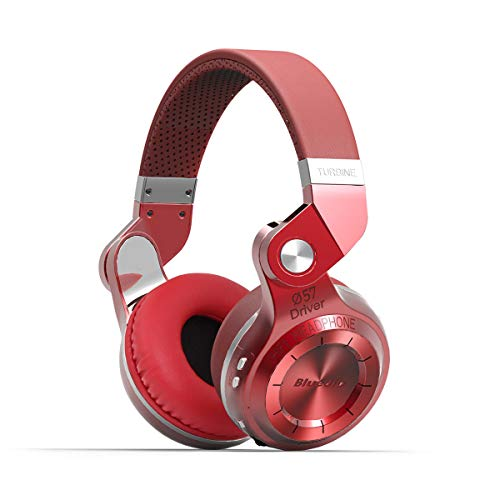 Bluedio T2s Bluetooth Headphones On Ear with Mic, 57mm Driver Rotary Folding Wireless Headset, Wired and Wireless Headphones for Cell Phone TV PC, 40 Hours Play Time Red