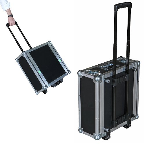 Rack Mount Case - 4 Space 4u ATA Rack Case w/Retractable Handle & Dolly Wheels - 16 Inch Shell