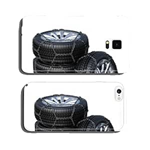 Winter tires with snow chain isolated on white background cell phone cover case Samsung S5