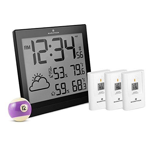 MARATHON BA030016 Atomic Weather Station with 3 Indoor/Outdoor Remote Sensors - Batteries (Multiple Temperature Sensors)