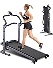 New Folding Manual Treadmill,MXXJJ Running Machine for Small Space,2 Level Incline,Twin Flywheels,Upgraded Shock-Absorbing,LED Display,Easy Assembly,Exercise Running Machine for Women Men - US Spot