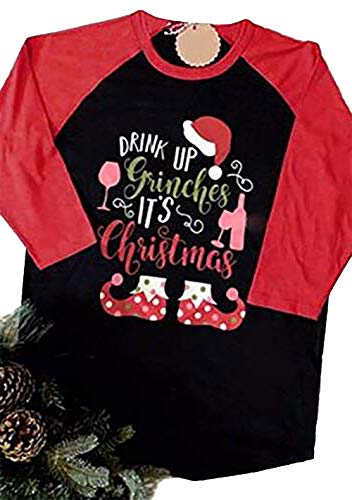 3f653c784d11f1 NANYUAYA Women Drink Up Grinches It s Christmas O-Neck 3 4 Sleeve Baseball T