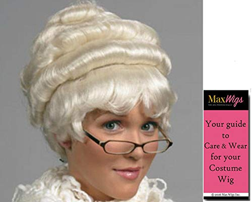 Mrs Claus Dress Up (Mrs. Santa Claus color WHITE - Enigma Wigs Mother Christmas Classic Women Gibson Style Jessica Wife Bundle MaxWigs Costume Wig Care)