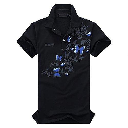 くちばし去るジュースCHROME CRANE(クロム クレイン) 半袖 和柄 ポロシャツ 蝶柄 乱舞 カットソー バタフライ Tシャツ メンズ TSP005