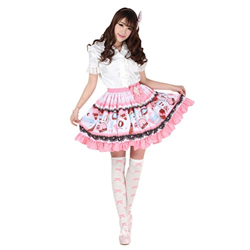 Hugme Pink Polyester Lace Ice-cream Printed Lolita Skirt (Ice Cream Fancy Dress Costume)
