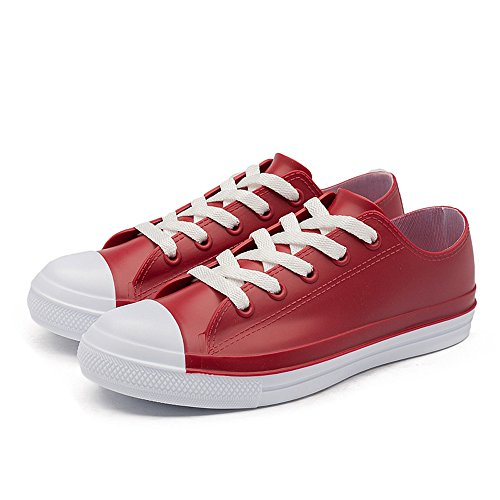 PVC Up Magone Lace Red Shoes Rain Womens qAw8xpU