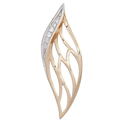 JOBO pendentif en or rose 585 partiellement rhodié, brillants 8 diamants 0,05 carat
