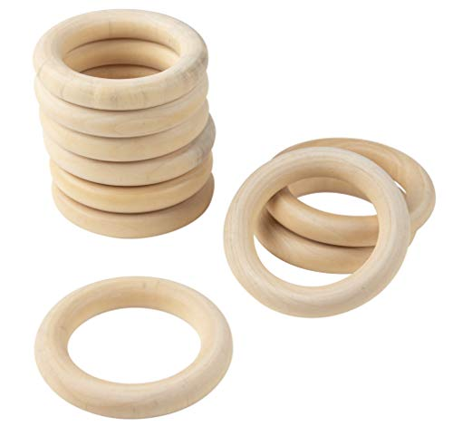 Wooden Rings for Crafts - 30-Count Unfinished Wood Rings, 3-Inch Solid Wooden Craft Rings, 3in Large Wooden Rings for DIY Jewelry Making, Ring Pendant Connectors