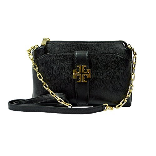 Tory Burch Meyer Crossbody Womens Black Travel Leather Messenger Black by Tory Burch