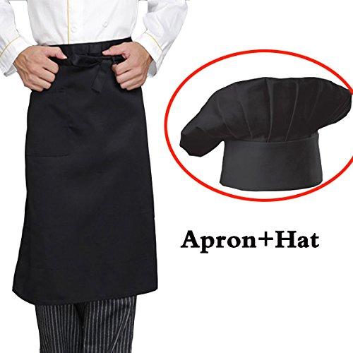 - Adjustable Waist Aprons with Pocket Kitchen Cooking Restaurant Bistro Garden Half Aprons Bib for Men Women,Chef,Baker,Servers,Waiter (Black)