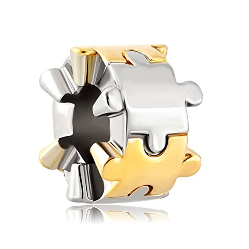 Q&Locket 925 Sterling Silver Two Tone Puzzle Piece Charm For Bracelet