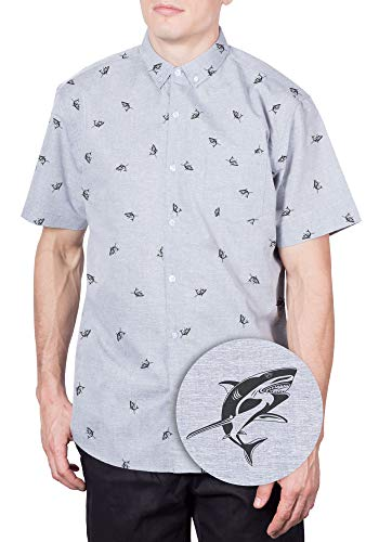 Hawaiian Shirt for Men Shark Button Down Shirts Short Sleeve Printed Tropical Grey Full Shark S