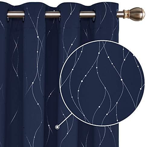 Deconovo Tende Camera da Letto Oscuranti Termiche Isolanti Stampate dei Fili con Occhielli per Casa Moderne 2 Pannelli 117x138cm Blu Navy