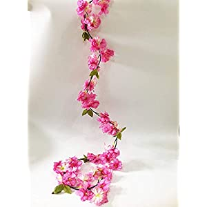 Artfen Artificial Cherry Blossom Hanging Vine Plants Faux Garland Fake Wreath Artificial Flower Home Hotel Office Wedding Party Garden Craft Art Decor 5.8 FT 2