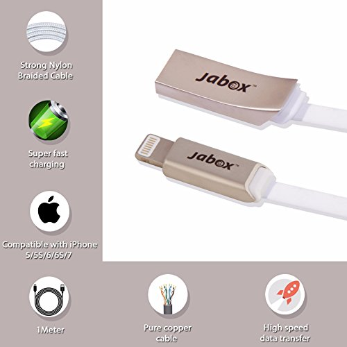Jabox Premium Apple iPhone High Quality Data / charging / USB Cable (Pure copper, Zinc Metal Header, High Quality TPE, 1M long, White Color)