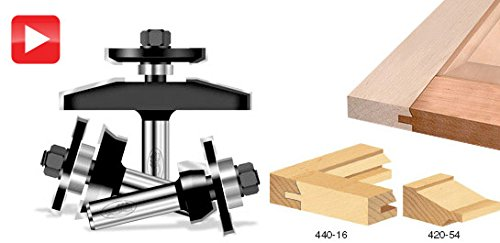 Timberline TRS-230 Shaker Raised Panel 1/2 Shank Door Making Router Bit Set with Back Cutter, (Angle Raised Panel Router Bit)