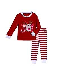 Pettigirl Girls 2 Piece Clothing Set Joy Reindeer Striped Pajamas 2-7 Y