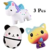 Anboor Squishies Unicorn Horse,Ice Cream Galaxy Cat Panda Egg Kawaii Slow Rising Scented Animal Squishies Stress Relief Kids Toy Gift,3 Pcs