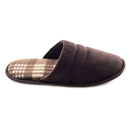 Pantoffeln Herren Größe UK 11 Innencheckfutter Doppeltgenähte SlumberzzZ Braun Mikrofaser zw6IHpq4