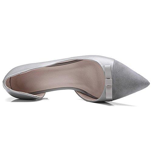 Nine Seven Cuero Moda Puntiagudos Zapatos de Tacón de Aguja con Lazo para Mujer gris