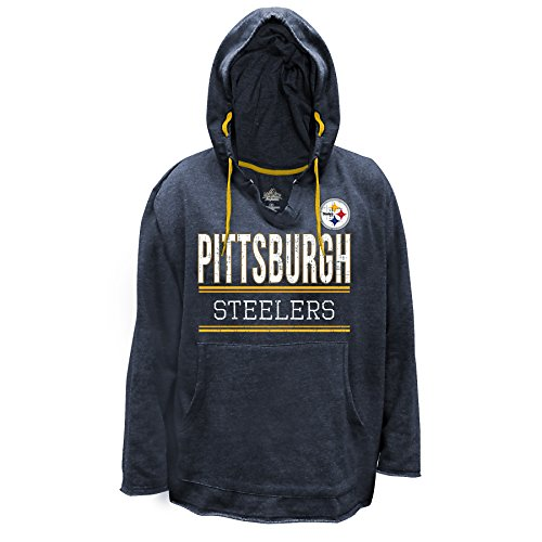NFL Pittsburgh Steelers V Notched Pullover Hood with Ragged Edge, 1X, Charcoal/Heather at Steeler Mania