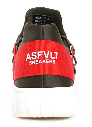 Asfvlt Sneakers, MOD. Area Mid Evo, Colore 004, Tomaia in Mesh Colore Verde Militare con Fascia sul Retro Rossa.