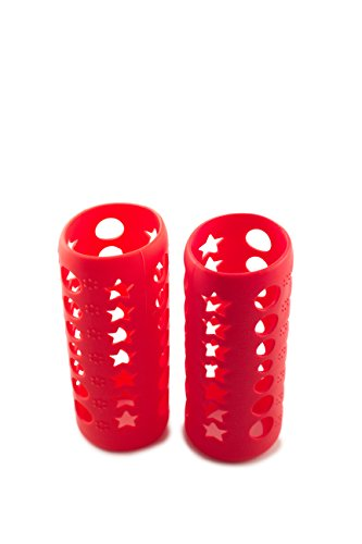 Silicone Glass Baby Bottle Cover by HNR - 2 PACK RED for sale  Delivered anywhere in USA