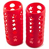 Silicone Glass Baby Bottle Cover by HNR - 2 PACK RED