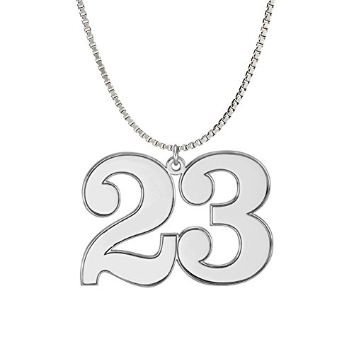 (Ouslier Personalized 925 Sterling Silver Combine Number Pendant Necklace Custom Made with 2 Numbers (Silver))