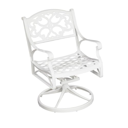 Butterfly Collection Rocking Chair - Home Styles 5552-53 Biscayne Swivel Arm Chair, White Finish