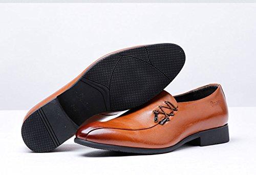 LEDLFIE Chaussures en Cuir pour Hommes Yellow DOtsXjg
