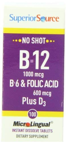 Superior Source No Shot B12, B6 & Folic Acid Plus Vitamin D3 (100 Microlingual Tablets) by Superior Source