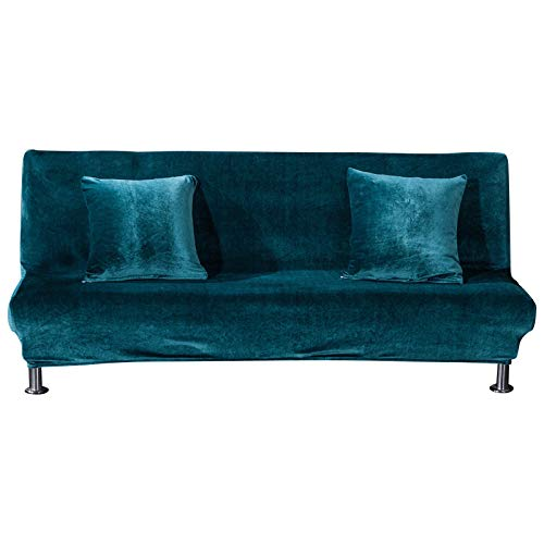 Zhiyuan Thick Solid Elastic Armless Sofa Bed Cover Stretch Futon Cover, Teal, L