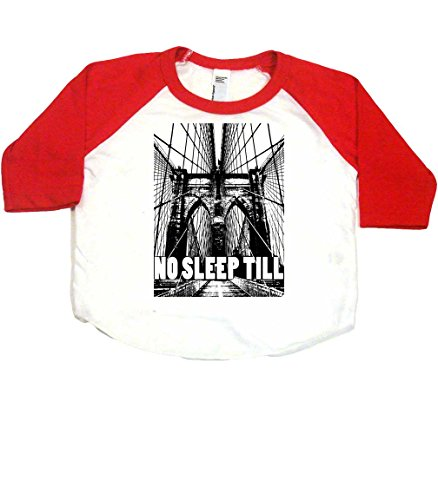 No Sleep Till Brooklyn Baby Baseball Shirt, 3-6 mo, White/Red