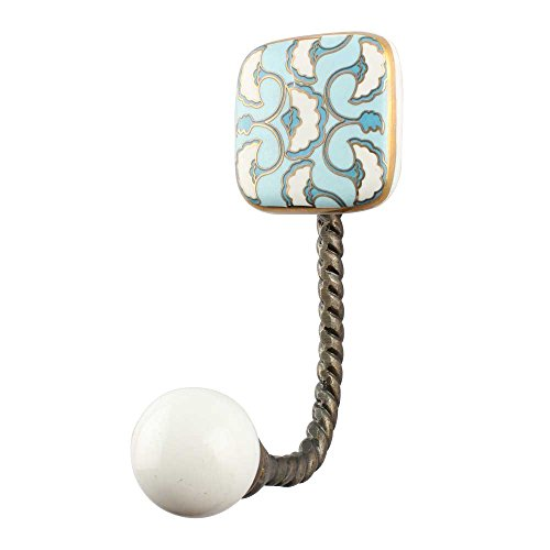 IndianShelf Handmade 2 Piece Ceramic Turquoise Sea Shell Square Ceramic Vintage Artistic Wall Coat Hooks/Cloth Hangers/Keys Holders by Indian Shelf