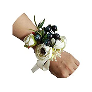 Chibi-Store Bride Wrist Corsage Sister Women Bridesmaid Artificial Wedding Hand Flowers Party Decoration,Ivory 117