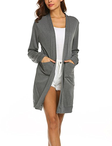 Locryz Women Summer Light Cardigan Open Front Long Sleeve Cover up Cardigans - Long Open Cardigan