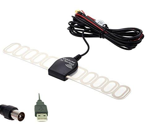 Eximtrade Car Analog TV Digital TV DVBT ATSC ISDB Radio FM Antenna Signal Amplifier for Car DVD Stereo (IEC + USB) (Analog Tv Antenna For Car Stereo)