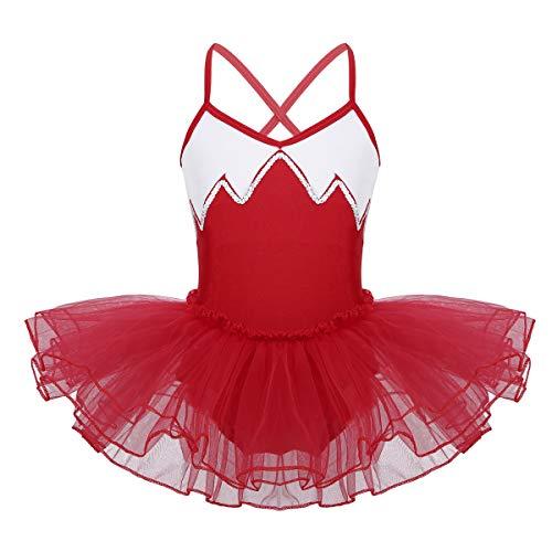 YiZYiF Kids Girl's Camisole Ballet Tutu Dress Up Leotard Dancewear Costumes (4-5, V-Neck Sequins Red)