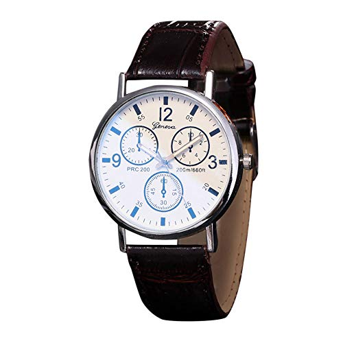 Mens Watches Leather Analog Quartz Watch Blu Ray Glass Wristwatch for Birthday Gifts (D)