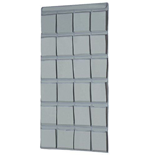 "Large Size Over the Door Shoe Organizer, 24 Large Pockets Hanging Shoe Organizer with 4 Steel Hooks (22"" x 58.5"") (Light Grey)"