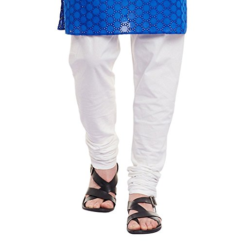 Mens Embroidered Cutwork Cotton Kurta With Churidar Pajama Trousers Machine Embroidery,Blue Chest Size: 46 Inch by ShalinIndia (Image #5)