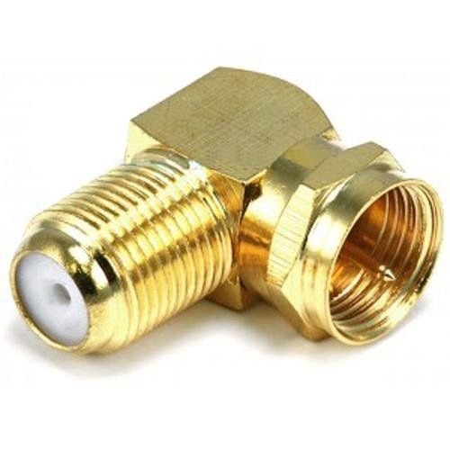 (90° Degree Right Angle Gold Plated F RG59 RG6 Coaxial Coax Connector Adapter )