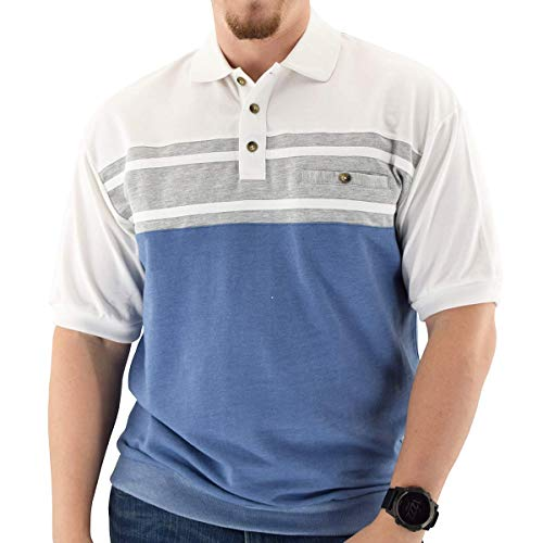 Classics by Palmland Horizontal French Terry Short Sleeve Banded Bottom Shirt White (L, White)