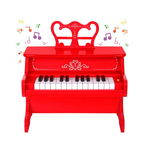 - M SANMERSEN Kids Piano, 25 Full Size Keys Piano Keyboard Kids Educational Learn-to-Play Mini Piano Musical Instrument Keyboard Toy - Red